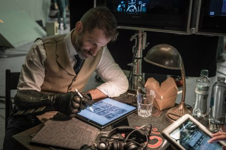 Zack Snyder on set Justice League