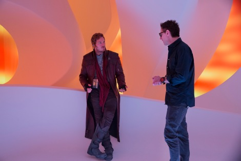Christ Pratt & James Gunn on set Guardians of the Galaxy Vol. 2