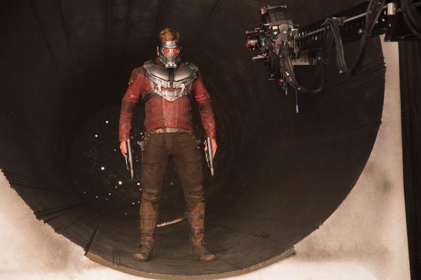 Chris Pratt on set Guardians of the Galaxy Vol. 2