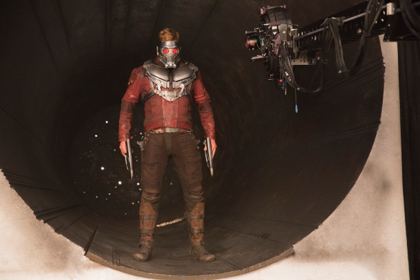 Chris Pratt on set Guardians of the Galaxy Vol. 2