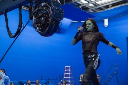 Zoe Saldana on set Guardians of the Galaxy Vol. 2