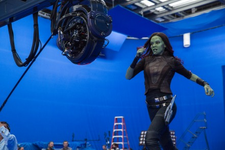 Zoe Saldana on set Guardians of the Galaxy Vol. 2