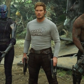 Zoe Saldana, Karen Gillan, Chris Pratt & Dave Bautista in Guardians of the Galaxy Vol. 2