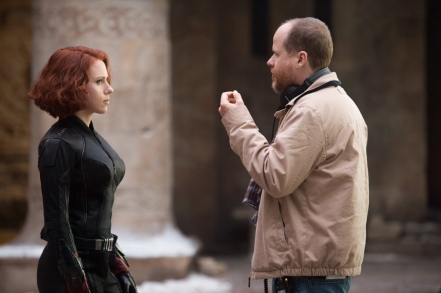 Scarlett Johansson & Joss Whedon on set Avengers: Age of Ultron
