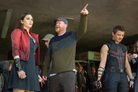 Elizabeth Olsen, Joss Whedon & Jeremy Renner on set Avengers: Age of Ultron