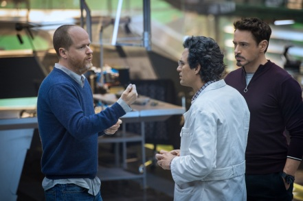 Joss Whedon, Mark Ruffalo & Robert Downey Jr. on set Avengers: Age of Ultron