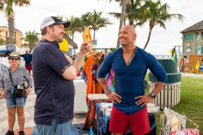 Seth Gordon & Dwayne Johnson on set Baywatch
