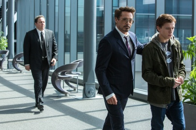 Jon Favreau, Robert Downey Jr. & Tom Holland in Spider-Man: Homecoming