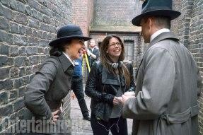 Gal Gadot, Chris Pine & Patty Jenkins on set Wonder Woman
