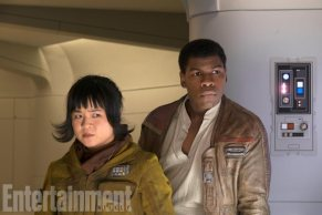 The hero theme of The Last Jedi is also a part of the Finn storyline, with John Boyega's ex-stormtrooper seriously considering becoming an ex-good-guy, too. But in Part 2 of EW's cover story, we explore how Kelly Marie Tran's Rose Tico, a Resistance mechanic, helps pull him back from the brink.