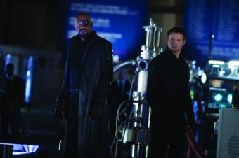 Samuel L. Jackson & Jeremy Renner in The Avengers