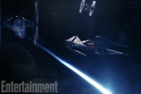 The TIE Silencer is a new ship, modeled on Darth Vader's TIE Advanced X1 from the original 1977 Star Wars and the TIE Interceptors from Return of the Jedi. This image features the ship in battle, flanked by the more expendable TIE Fighters.