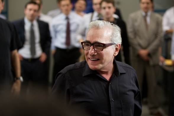 Martin Scorsese on set The Wolf of Wall Street