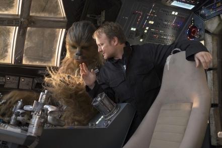 Rian Johnson on set Star Wars: The Last Jedi