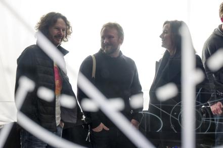 Ram Bergman, Rian Johnson & Kathleen Kennedy on set Star Wars: The Last Jedi