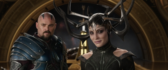 Karl Urban & Cate Blanchett as Hela in Thor: Ragnarok