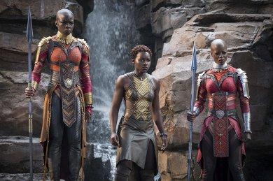 Danai Gurira & Lupita Nyong'o in Black Panther