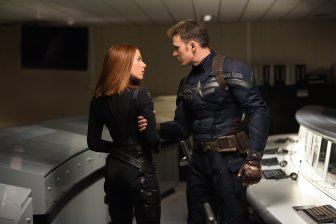 Scarlett Johansson & Chris Evans in Captain America: The Winter Solider