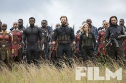 Chadwick Boseman, Chris Evans, Scarlett Johansson & Sebastian Stan in Avengers: Infinity War