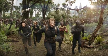 Sebastian Stan, Chris Evans, Scarlett Johansson & Danai Gurira in Avengers: Infinity War