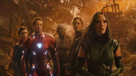 Tom Holland, Robert Downey Jr., Dave Bautista, Chris Pratt & Pom Klementioff in Avnegers: Infinity War