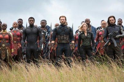 Danai Gurrira, Chadwick Boseman, Chris Evans, Scarlet Johansson & Sebastian Stan in Avengers: Infinity War