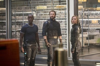Don Cheadle, Chris Evans & Scarlett Johansson in Avengers: Infinity War