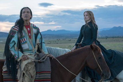 Michael Greyeyes & Jessica Chastain in Woman Walks Ahead