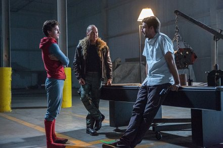 Tom Holland, Michael Keaton & Jon Watts on set Spider-Man: Homecoming