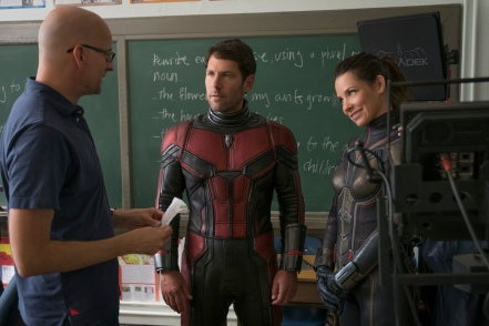 Marvel Studios ANT-MAN AND THE WASP L to R: Director Peyton Reed, Paul Rudd (Ant-Man/Scott Lang) and The Wasp/Hope van Dyne (Evangeline Lilly) BTS on set. Photo: Ben Rothstein ©Marvel Studios 2018