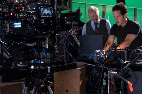 Marvel Studios ANT-MAN AND THE WASP L to R: Hank Pym (Michael Douglas) and Ant-Man/Scott Lang (Paul Rudd) BTS on set. Photo: Ben Rothstein ©Marvel Studios 2018