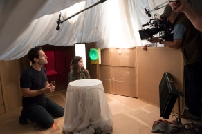 Marvel Studios ANT-MAN AND THE WASP L to R: Ant-Man/Scott Lang (Paul Rudd) and Cassie Lang (Abby Ryder Forston) BTS on set. Photo: Ben Rothstein ©Marvel Studios 2018