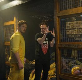 Chris Pratt & James Gunn on set Guardians of the Galaxy
