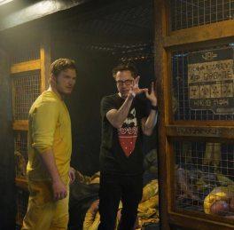 Chris Pratt & James Gunn on set Guardians of the Galaxy