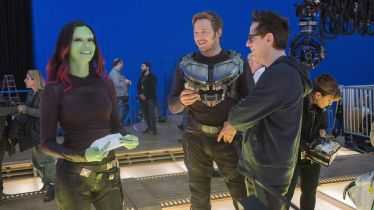 Zoe Saldana, Chris Pratt & James Gunn on set Guardians of the Galaxy Vol. 2