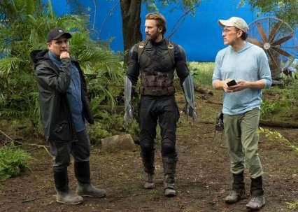 Joe Russo, Chris Evans & Anthony Russo on set Avengers: Infinity War