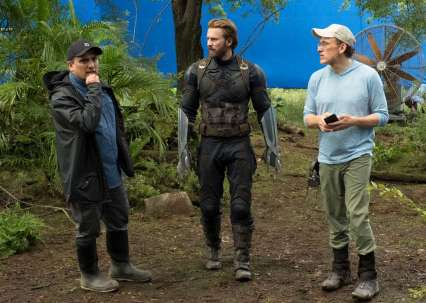 Joe Russo, Chris Evans & Anthony Russo on set Avengers: Infinity War