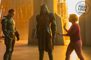 Hounsou's Korath and Pace's Ronan the Accuser return, but they debuted in Guardians of the Galaxy; this movie actually takes place well before that. In Captain Marvel Ronan is not yet an outcast extremist, but a high-ranking member of Kree society.