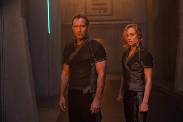 Jude Law & Brie Larson in Captain Marvel