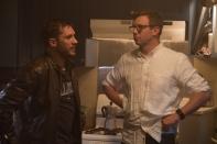 Tom Hardy and Ruben Fletcher on set Venom.