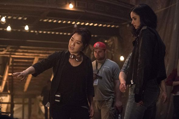 Deborah Chow & Kristen Ritter on set Jessica Jones