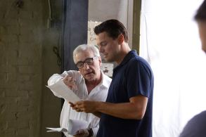 Martin Scorsese & Leonardo DiCaprio on set The Wolf of Wall Street