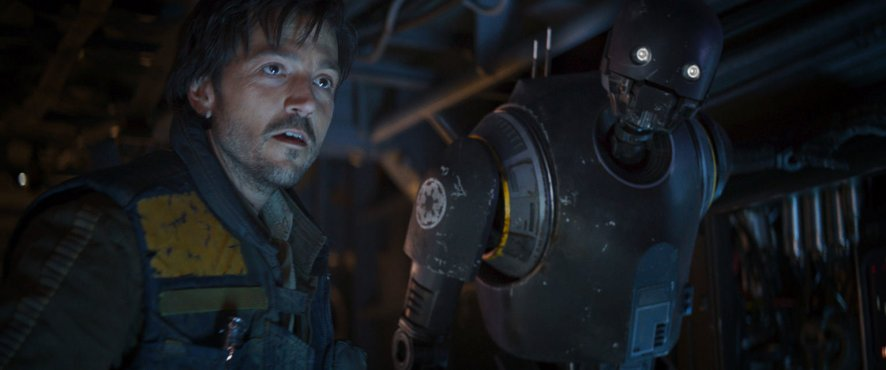 Diego Luna as Cassian Andor & K-2SO (Alan Tudyk) in Rogue One: A Star Wars Story