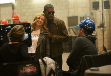 Brie Larson & Samuel L. Jackson on set Captain Marvel