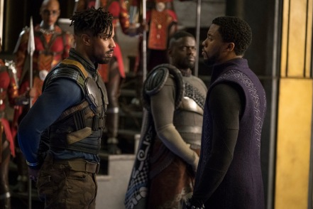 Michael B. Jordan & Chadwick Boseman in Black Panther