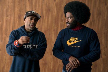 Spike Lee & John David Washington on set BlacKkKlansman